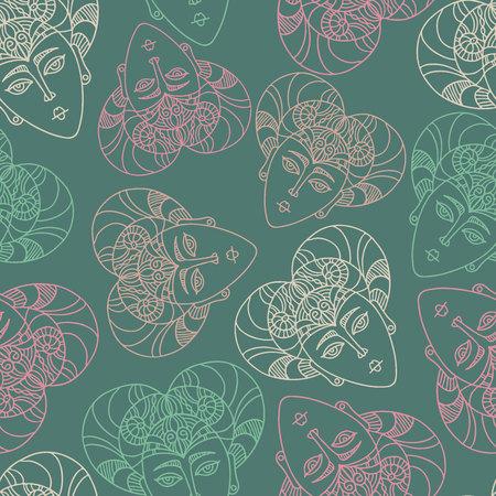 Ornamento lujoso de patrones sin fisuras de vector con máscaras étnicas. El diseño se puede utilizar para textiles, papel tapiz, ropa, papel de regalo. Ilustración de vector
