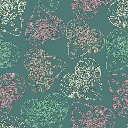 Vector seamless pattern luxurious ornament with ethnic masks. Design can be used for textiles, wallpaper, clothing, wrapping paper. Vector Illustration