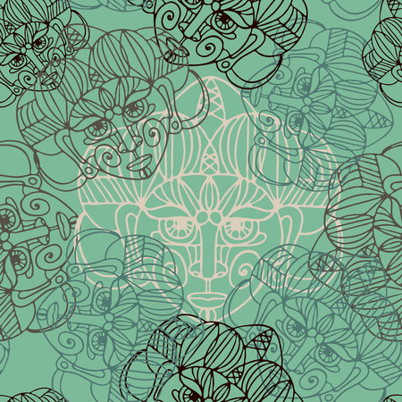 Vector seamless pattern luxurious ornament with ethnic masks. Design can be used for textiles, wallpaper, clothing, wrapping paper.