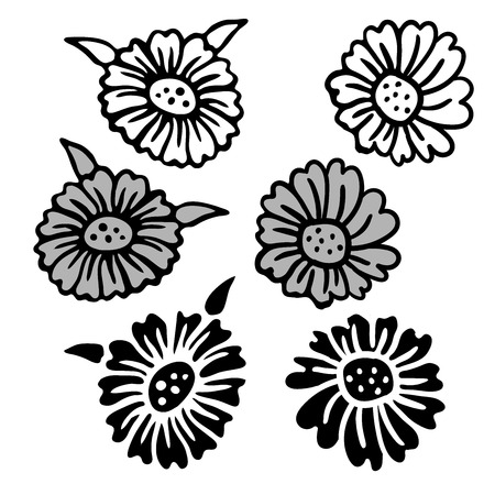Vintage Victorian floral elements in black and white style.Design elements isolated on white backgroundare great for decorating business cards,advertising on paper,stickers,badges,bijouterie,tattoo.