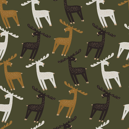 Seamless pattern with the image of elk. Vector illustration. Design can be used for textiles, wallpaper, clothing, wrapping paper.
