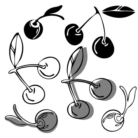 Vector design with stylized image of cherry. In black and white style. Can be used for printing on paper, stickers, badges, bijouterie.