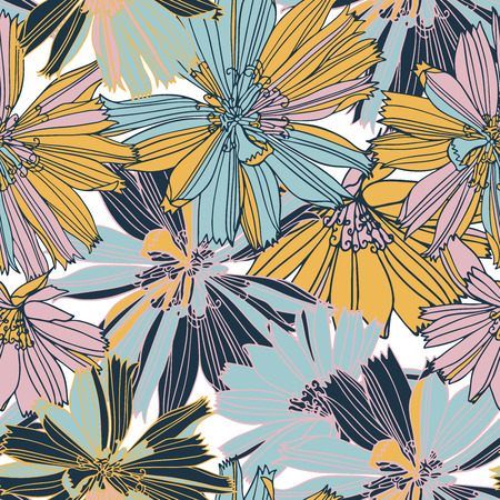 Beautiful vector with chicory flowers.Seamless pattern with the botanical image . Design can be used for textiles, wallpaper, clothing, wrapping paper. Ilustracja