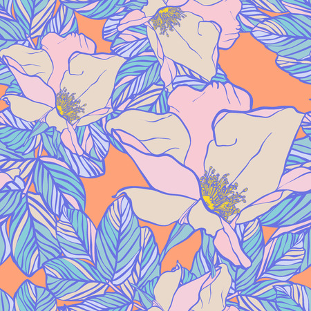 Vector design with flower wild Rose. Bright, rich design. Seamless background suitable for textiles, sketches and office design wallpaper, wrapping paper, etc.