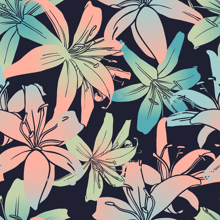 Vector design with flower tiger lily. Bright, rich design. Seamless background suitable for textiles, sketches and office design wallpaper, wrapping paper, etc.