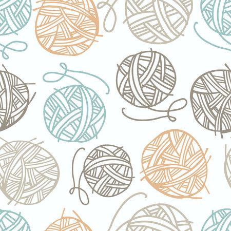 Modèle sans couture de vecteur avec du fil à tricoter. Convient pour le papier, les cartes postales, les textiles de maison.