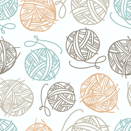 Vector seamless pattern with yarn for knitting. Suitable for paper, postcards, home textiles.