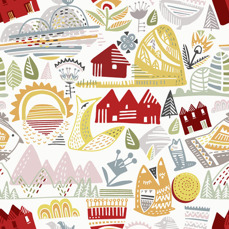 Seamless background with decorative landscape and flowers in the Scandinavian style. Ideal for children s fabric, textile, children s wallpaper. Vector illustration Illustration