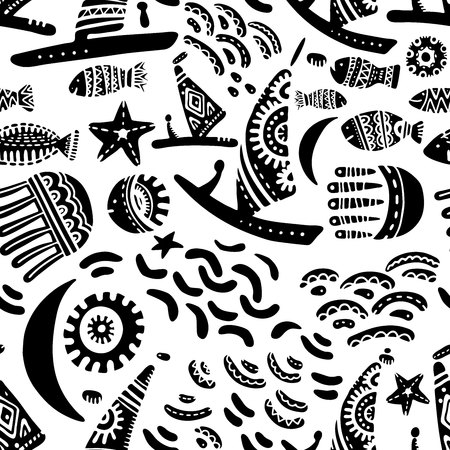 Subject sea and ocean.Template with aquatic inhabitants. Ships and marine inhabitants. Cute drawings on a white background. Vector graphics.