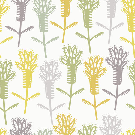 Seamless pattern with decorative flowers in scandinavian style. Perfect for kids fabric, textile, nursery wallpaper. Vector Illustration.