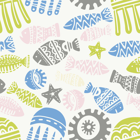 Seamless pattern with cute subject sea and ocean.Template with aquatic inhabitants. Ships and marine inhabitants. Vector graphics.