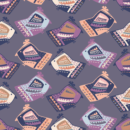 Vector design with stylized birds the Scandinavian style.Hand-drawn, scanned and translated into a vector. Ideal for children s fabric, textile, children s wallpaper.