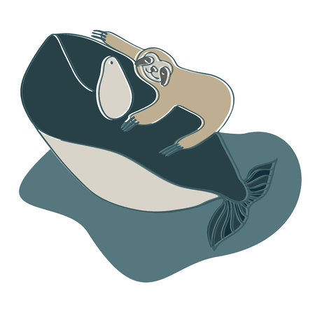 Lenivitz and the whale. Vector design with stylized animals. Can be used for printing on paper, stickers, badges, bijouterie, stickers and t-shirts. Illustration