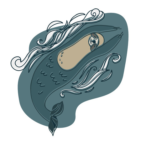 Sloth like a mermaid. Vector design with stylized animals. Can be used for printing on paper, stickers, badges, bijouterie, stickers and t-shirts.