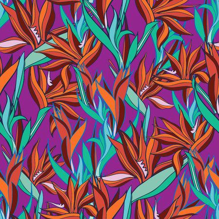 Illustration vectorielle avec des fleurs Strelitzia. Modèle sans couture avec des fleurs tropicales et des feuilles aux couleurs vives. Le design convient aux vêtements, au papier peint, à l'arrière-plan.