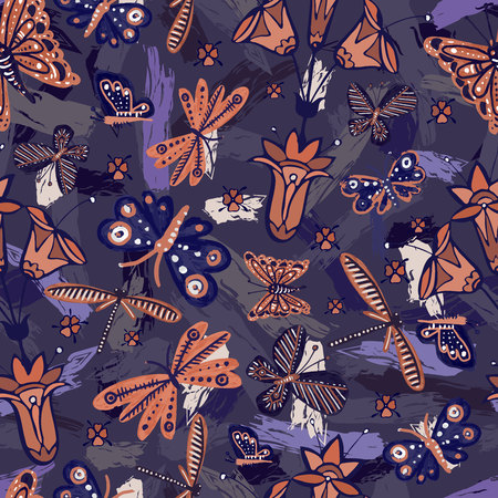 Seamless colorful design with funny butterflies. The design is perfectly suitable for clothes design, children's decoration, wallpaper and backgrounds.