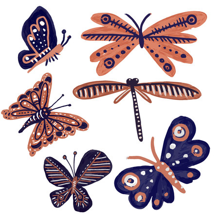 Set of isolated designs with colorful funny butterflies on white background. The design is perfectly suitable for clothes design, children's decoration, wallpaper and backgrounds.