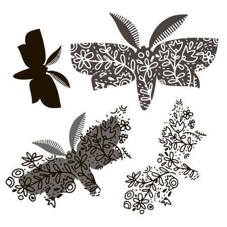 Vector design with night-fly and flowers. Elements isolated on white background. In black and white style. Can be used for printing on paper, stickers, badges, bijouterie, cards, textiles, tattoos.