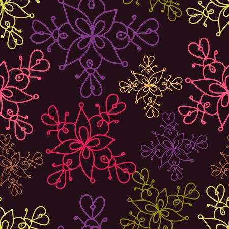 Seamless vector pattern with decorative abstract flowers. The design is perfect for wallpapers, wrapping papers, stationary design, sheets, clothes. Stock Illustratie