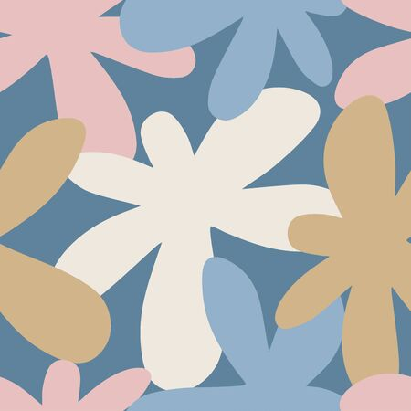 Seamless vector pattern with decorative abstract flowers.