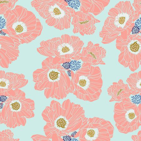 Seamless colorful design stylized flowers lush peony. The design is perfectly suitable for clothes design, children s decoration, wallpaper and backgrounds.