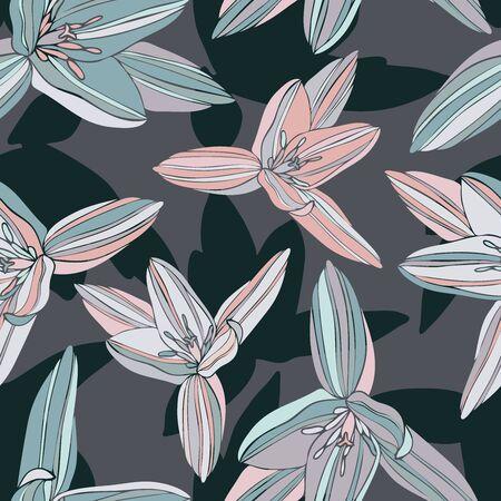 Seamless colorful design decorative flowers primrose. Illusztráció