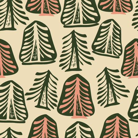 Seamless vector pattern with colourful fir trees.