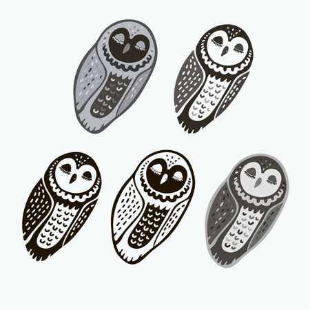 Isolated design with graphic silhouettes of owls on white background. Illustration