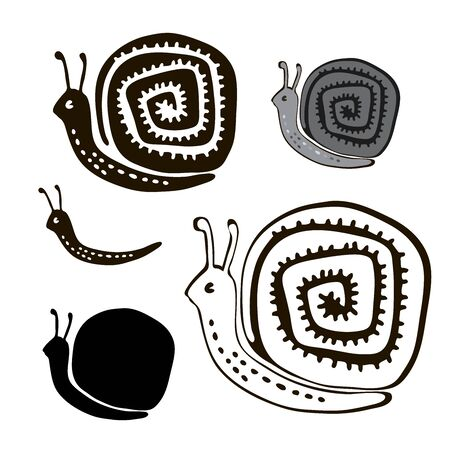 Isolated set with decorative silhouettes os snails.