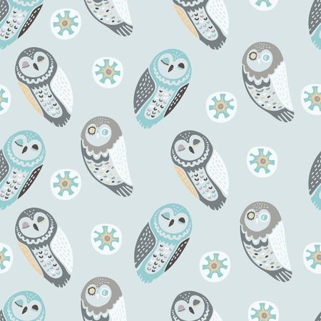 Seamless vector design with colorful funny owls.