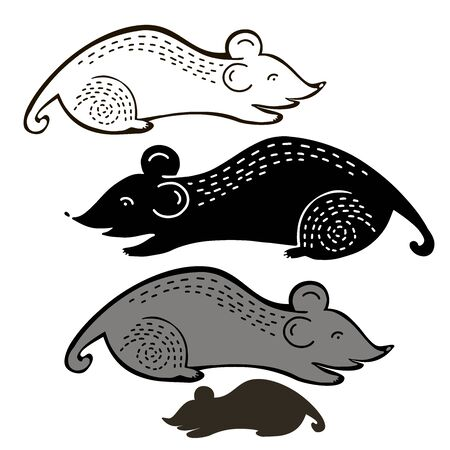 Isolated design with graphic silhouettes of mouses on white background. Illustration