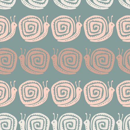 Seamless vector pattern with decorative colorful snails. The design is suitable for children clothes, wallpaper, stationary, sheets as well as for wrapping paper.