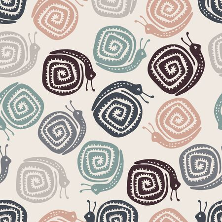 Seamless vector pattern with decorative colorful snails.