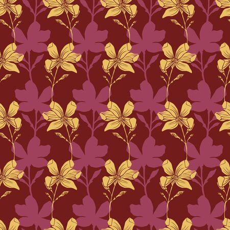 Seamless stylized pattern with pink flowers. Can be used for printing on paper, stickers, badges, bijouterie, cards, textiles.