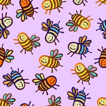 Seamless vector pattern with colorful decorative bees. The design is perfect for wallpaper, backgrounds, wrapping paper, sheets, clothes, stationery and decorations. Ilustracja