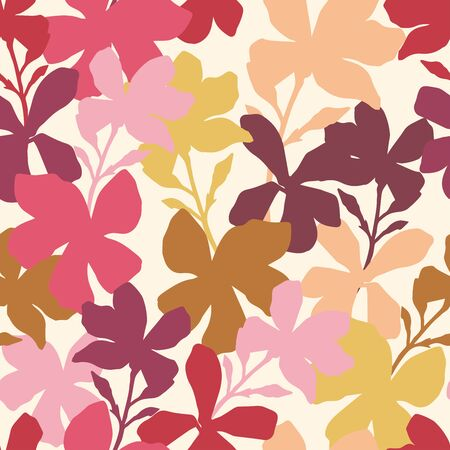 Seamless stylized pattern with pink flowers. Can be used for printing on paper, stickers, badges, bijouterie, cards, textiles. Illustration