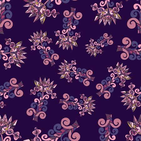 Modern seamless vector botanical with flower. Can be used for printing on paper, stickers, badges, bijouterie, cards, textiles. Standard-Bild - 133550100