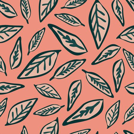 Modern seamless vector botanical with leaves. Can be used for printing on paper, stickers, badges, bijouterie, cards, textiles. Standard-Bild - 133550096