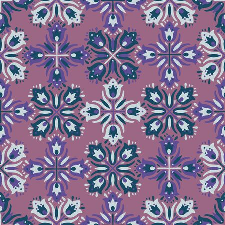 Modern seamless vector floral pattern with kaleidoscope motifs. Can be used for printing on paper, stickers, badges, bijouterie, cards, textiles.