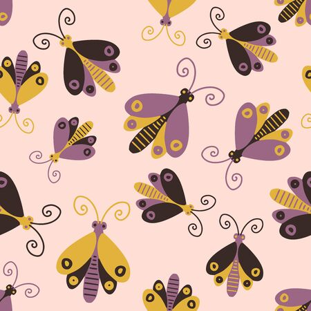 Modern seamless stylized design with abstract butterflies. Can be used for printing on paper, stickers, badges, cards, textiles.