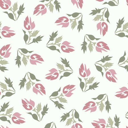 Modern seamless vector botanical with flower for textile. Can be used for printing on paper, stickers, badges, bijouterie, cards, textiles.