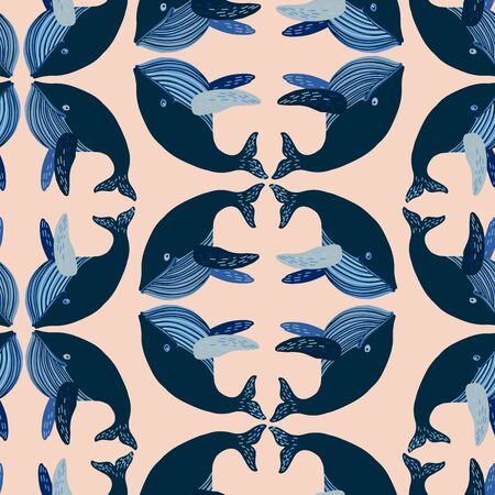 Seamless vector design with stylised whales. The design is suitable for children clothes, wallpaper, stationary, sheets as well as for wrapping paper.