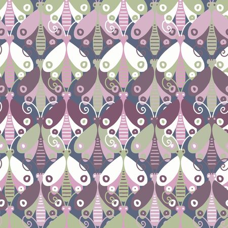 Modern seamless stylized design with abstract butterflies. Can be used for printing on paper, stickers, badges, bijouterie, cards, textiles.  Illustration