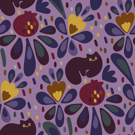 Seamless vector design with colorful pomegranates, cats and flowers. The design is suitable for children clothes, wallpaper, stationary, sheets as well as for wrapping paper.