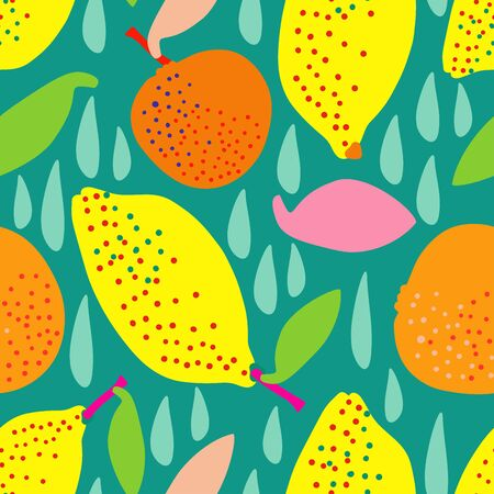 Modern seamless stylized design with citrus in pop-art style. Can be used for printing on paper, packaging, decorations, cards, textiles.