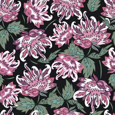 Seamless vector pattern of decorative silhouettes of lush peonies. The design is perfectly suitable for clothes design, children decoration, stickers, stationary, tattoos.