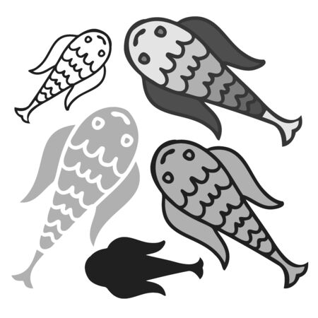 Isolated design with graphic decorative fish on white background. The design is perfectly suitable for clothes design, children decoration, stickers, stationary. Ilustração