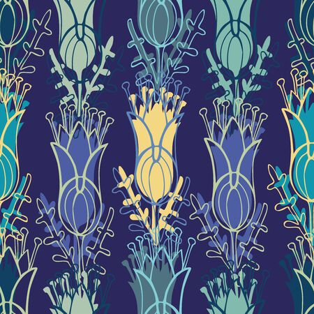 Modern seamless vector botanical colorful pattern with decorative flowers. Can be used for printing on paper, stickers, badges, bijouterie, cards, textiles. Ilustrace