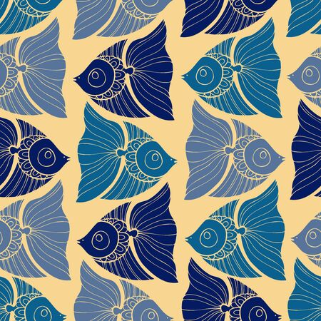 Seamless pattern design with decorative fish in blue tones on yellow background. Can be used for printing on paper, stickers, badges, bijouterie, cards, textiles.