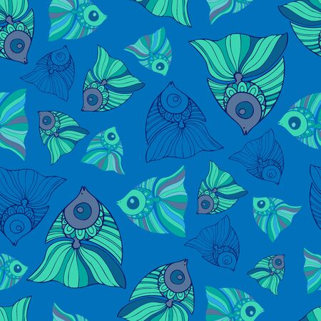 Seamless pattern design with decorative fish in blue tones. Can be used for printing on paper, stickers, badges, bijouterie, cards, textiles.